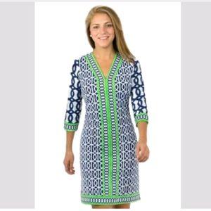 Gretchen Scott S green blue Circles slinky dress